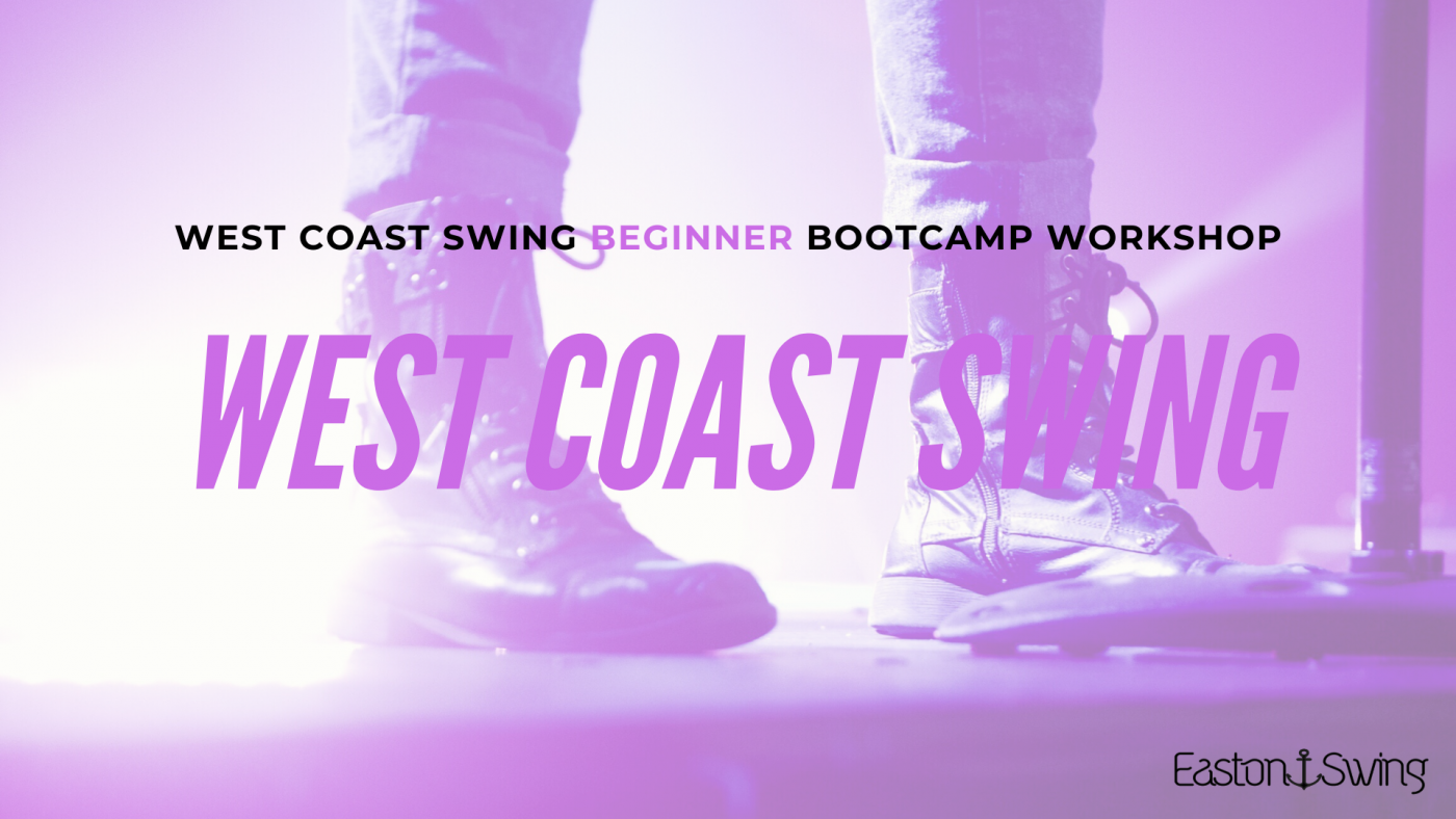 infographic of a mans black dance boots with a purple filter. West Coast Swing Beginners