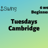 green to yellow background with EastonSwing company Logo plus text describing beginner courses