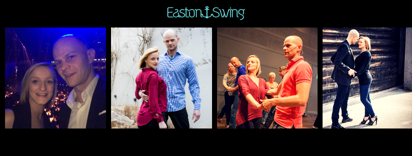 4 photo block of the owners of EastonSwing Limited. Shows them in a range of poses shaped in a West Coast Swing style.