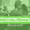 a photograph of people dancing West Coast Swing with a green filter overlaid and text regarding a weekly class in cambridge on tuesdays