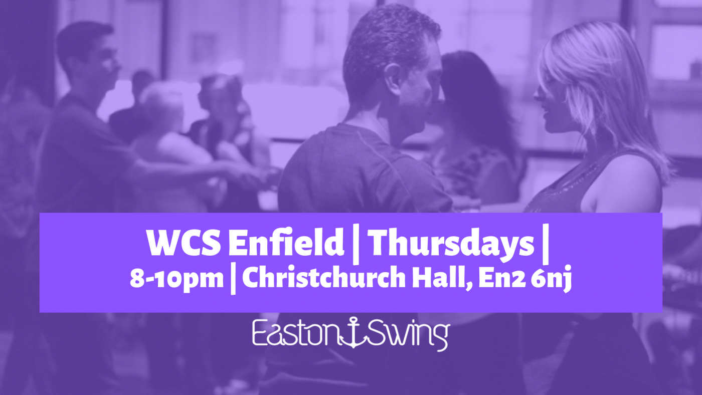 a photograph of people dancing West Coast Swing with a purple filter overlaid and text regarding a weekly class in enfield, london on thursdays