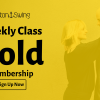 Black text offering Gold Level membership at EastonSwing overlayed on a faded photo of a blonde woman in black with her arms around a shaved headed man wearing a black jacket