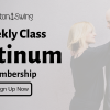 West Coast Swing Platinum, Black text offering Silver Level membership at EastonSwing overlayed on a faded photo of a blonde woman in black with her arms around a shaved headed man wearing a black jacket