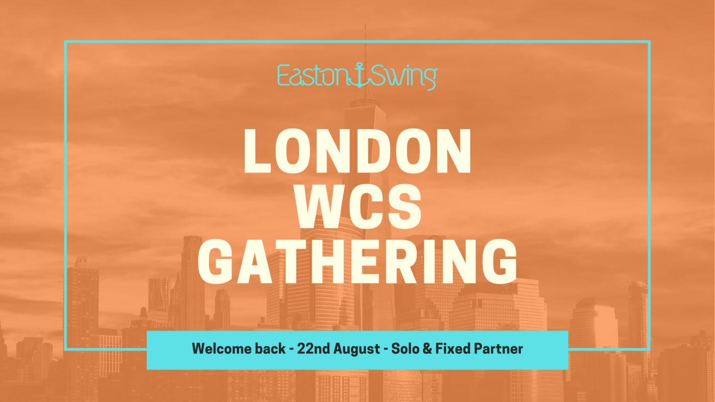 London city sky scene with orange filter and text advertising a West Coast Swing gathering in London.