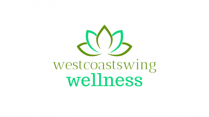 Picture of a lotus flower in 2 shades of green above the text West Coast Swing Wellness also in green.