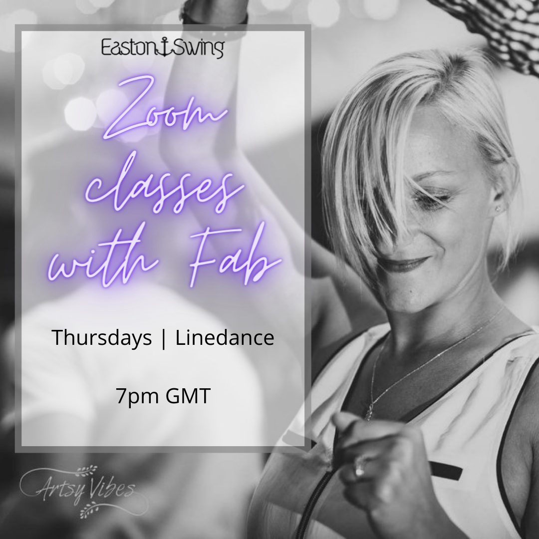 Zoom with Fab - Black and white image of a woman dancing west coast swing. Text box advertising details of online Linedance class, Thursdays 7pm GMT