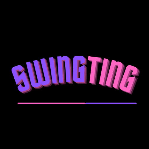 SwingTing event Logo in purple and pink lettering, underlined